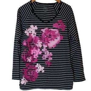Tops - JMS Floral Sparkle Print Striped Long Sleeve